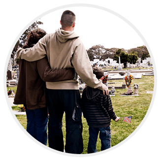 Family Standing on a Grave